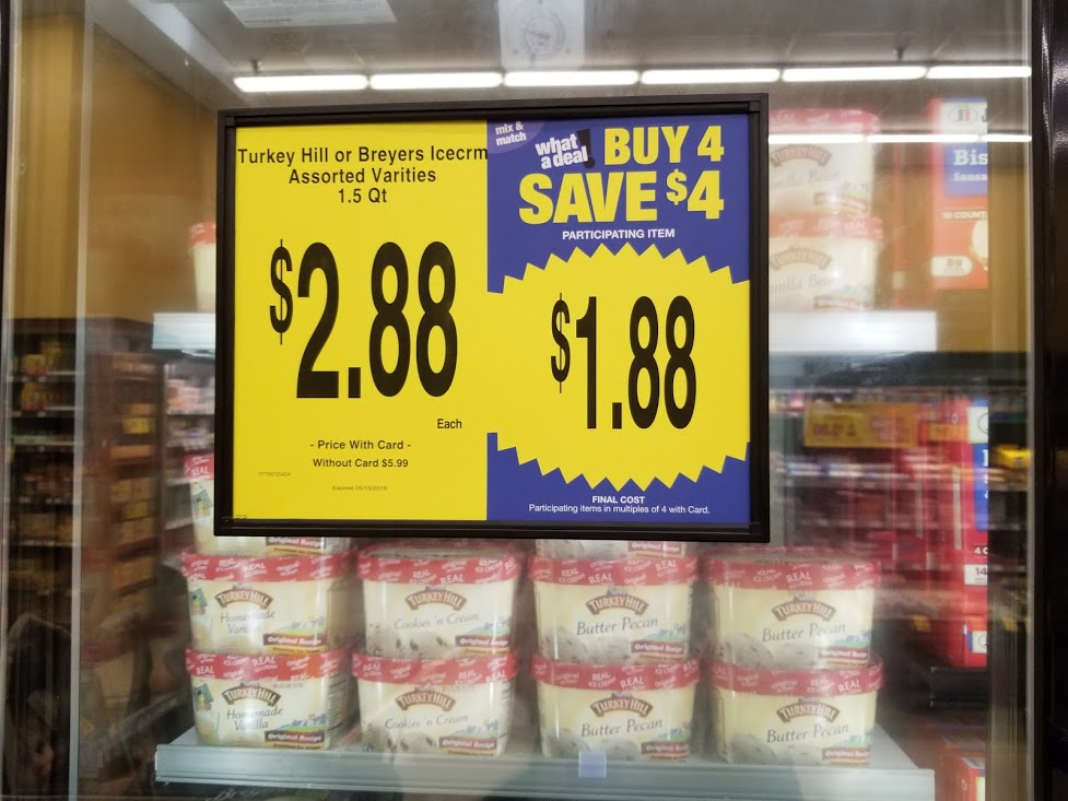 Turkey Hill Ice-cream for $0.88 at King Soopers during Buy 4 Save $4 Sale!!!!