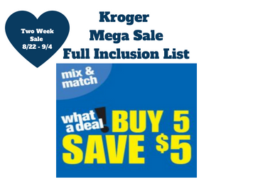 Buy 5 Save $5 King Soopers and Kroger Affiliate SEARCHABLE Full Inclusion List!!!!!