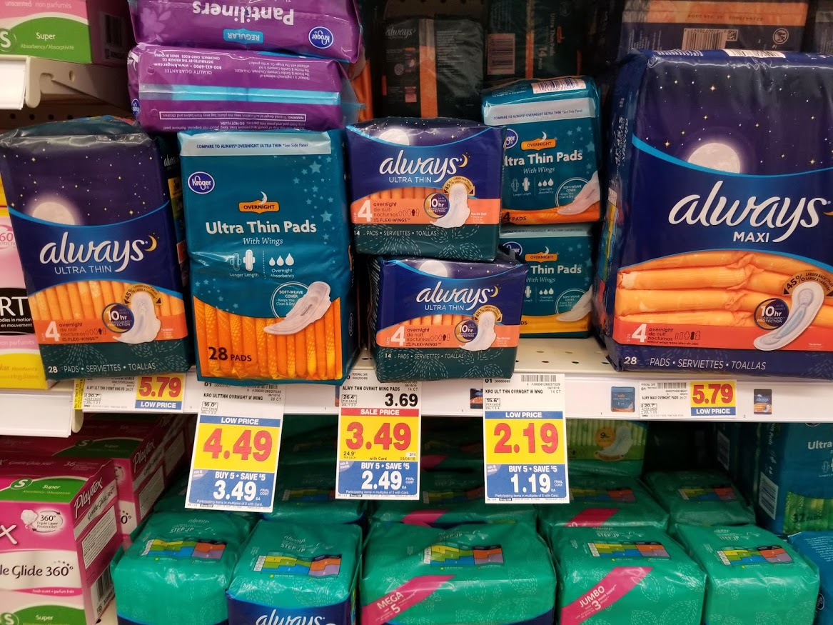 Always Ultra Thin Maxi pads for $1 49 at King Soopers!!