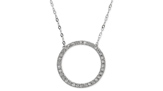 Diamond Circle Pendent with 10k White Gold Normally $400 ONLY $99!!!