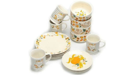 Mainstays 16-Piece Happy Harvest Fall Floral Dinnerware Set for $19.97 (Reg. $49.99)!
